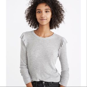 Madewell ruffle sleeve sweater pullover knit gray